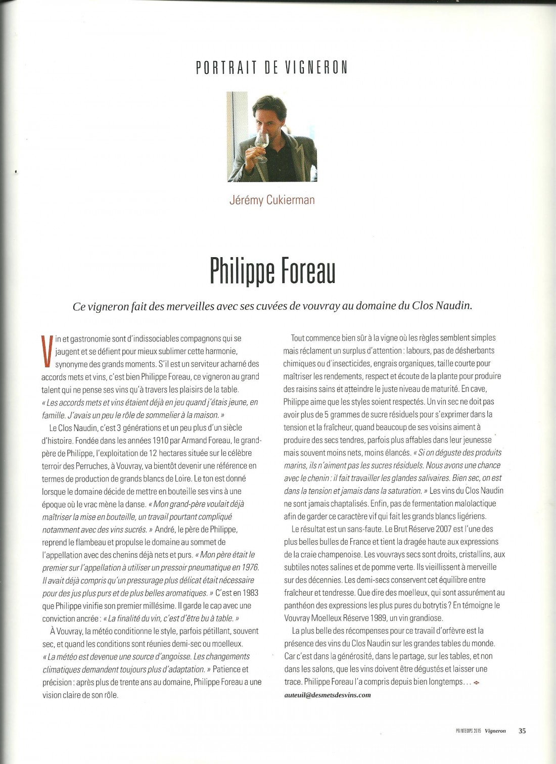 article vigneron P. Foreau