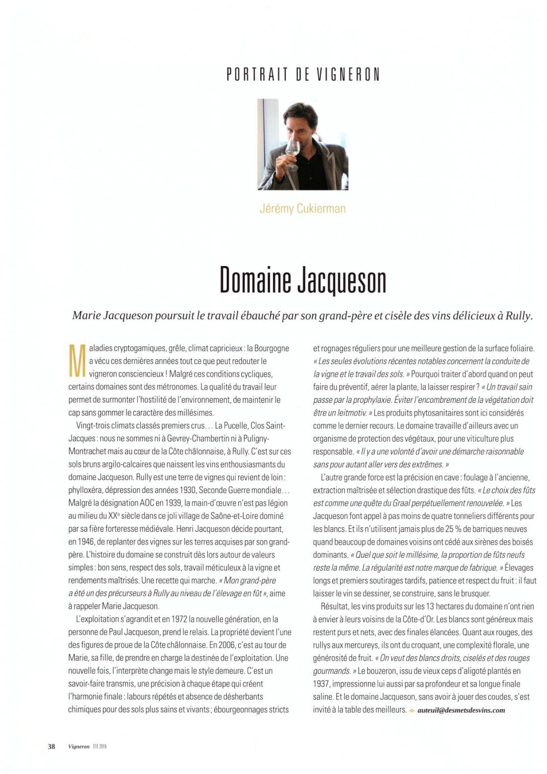 Article vigneron Jacqueson